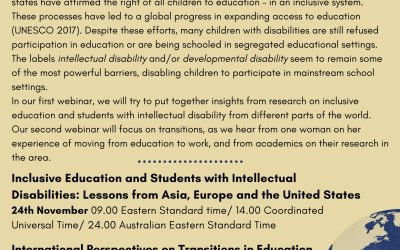 IASSIDD Webinar – International Perspectives on Transitions in Education and Students with Intellectual Disabilities